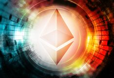 Ethereum cryptocurrency concept, graphic collage in cosmic space. Ethereum cryptocurrency concept, graphic collage in cosmic space Stock Photography