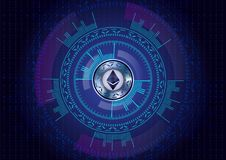 Ethereum cryptocurrency on dark blue background with numbers and. Sci fi HUD. Vector Stock Image