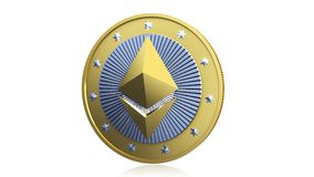 Ethereum Cryptocurrency Gold Coin Royalty Free Stock Images