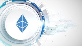 Ethereum cryptocurrency icon animation white digital elements technology background. Video royalty free illustration