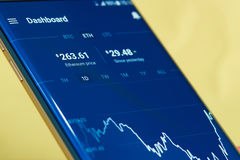 Ethereum cryptocurrency money. New york, USA - June 27, 2017: Ethereum cryptocurrency money currency graph exchange on mobile application close-up Royalty Free Stock Photography