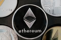 Ethereum cryptocurrency real silver coin closeup Stock Images