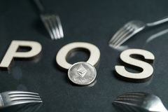 Ethereum Cryptocurrency switching from POW, GPU mining to POS concept with forks around POS sign. Ethereum Cryptocurrency switching from POW GPU mining to POS royalty free stock image