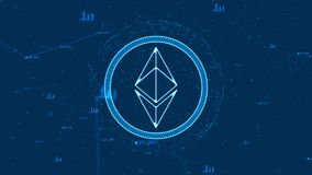 Ethereum currency. Blockchain crypto currency with ethereum currency sign in digital cyberspace. Digital encryption network for world money Royalty Free Stock Photography