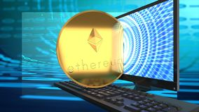 Bitcoin rival, ethereum, online coin, gains investors` attention and market value. Ethereum currency, digital electronic cyber coin symbolized by a golden coin Stock Image