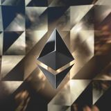 Ethereum currency logo 3D illustration. Ethereum crypto currency logo over abstract low poly background. 3D render Royalty Free Stock Photography