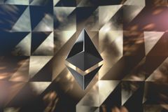 Ethereum currency logo 3D illustration. Ethereum crypto currency logo over abstract low poly background. 3D render Stock Photography