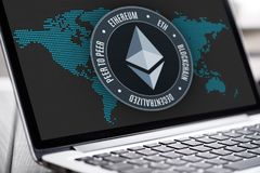 Ethereum currency sign on laptop screen Royalty Free Stock Images