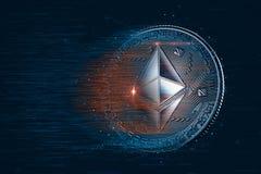 Ethereum cyfrowa waluta ilustracja 3 d Zawiera przycinać pa obraz royalty free