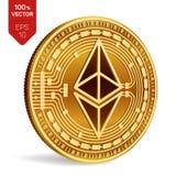 Ethereum 3D等量物理硬币 数字式货币 Cryptocurrency 在白色backgro与ethereum标志的金黄硬币隔绝的 库存图片