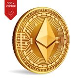 Ethereum. 3D isometric Physical coin. Digital currency. Cryptocurrency. Golden coin with ethereum symbol on white background. Ethereum. 3D isometric Physical Royalty Free Stock Photos