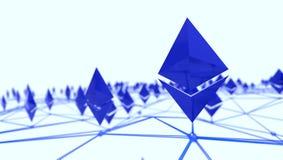 Ethereum 3d logo w sieci, 3d rendering zdjęcie royalty free