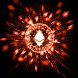 Ethereum d'un rouge ardent rougeoyant ETH avec des particules d'explosion et déformer le fond de données binaires illustration libre de droits