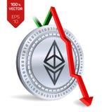 Ethereum Daling Rode pijl neer De classificatie van de Ethereumindex daalt op uitwisselingsmarkt Crypto munt 3D isometrische Fysi Stock Foto's