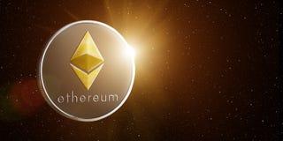 Ethereum dans l'espace avec le Soleil Levant derrière Photos libres de droits