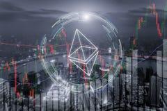 Ethereum de effectenbeursinvestering van de handeluitwisseling, forex met RT Royalty-vrije Stock Afbeelding