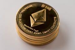Ethereum de pièces d'or, cryptographie photo libre de droits