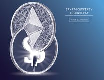 Ethereum digital currency coin damage world finance system based on dollar   Stock Photo