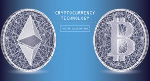 Ethereum Digital Currency Vector Icons And Symbols. Crypto Currency Token Coins Stock Photography