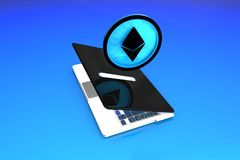 Ethereum, Digital Smart Contracts Savings. Big, High Quality Concept of Ethereum smart contracts saving coin modeled in 3D in a laptop money box Royalty Free Stock Image
