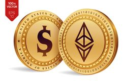 Ethereum. Dollar coin. 3D isometric Physical coins. Digital currency. Cryptocurrency. Golden coins with Ethereum and Dollar symbol. Isolated on white background Stock Photo
