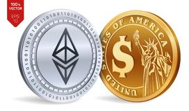 Ethereum. Dollar coin. 3D isometric Physical coins. Digital currency. Cryptocurrency. Golden and silver coins with Ethereum and Do. Llar symbol isolated on white Stock Photography
