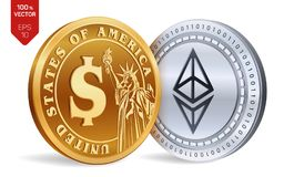 Ethereum. Dollar coin. 3D isometric Physical coins. Digital currency. Cryptocurrency. Golden and silver coins with Ethereum and Do. Llar symbol isolated on white Royalty Free Stock Image