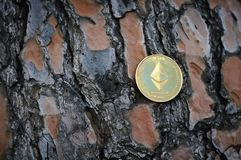 Ethereum dourado no fundo de madeira Foto de Stock Royalty Free