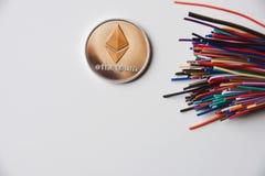 Ethereum e fios imagens de stock