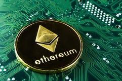 Ethereum is een moderne manier van uitwisseling en deze crypto munt royalty-vrije stock fotografie