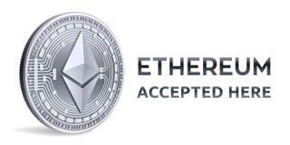 Ethereum Emblema aceitado do sinal Moeda cripto Moeda de prata com símbolo do ethereum isolada no fundo branco 3D Physi isométric Imagem de Stock