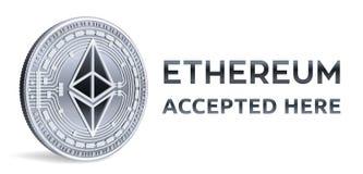 Ethereum Emblema aceitado do sinal Moeda cripto Moeda de prata com símbolo do ethereum isolada no fundo branco 3D Physi isométric Fotos de Stock Royalty Free