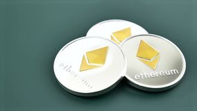 Ethereum ETH coins on dark green background