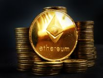 Ethereum ETH crypto coin. Trading and mining. Ethereum ETH crypto coin. Trading and mining concept royalty free stock image