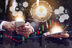 Ethereum ETH and Cryptocurrency Trading Concept royalty free stock photos