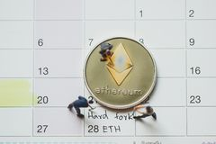Ethereum ETH hard fork stock photos