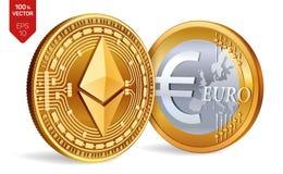 Ethereum Euro pièce de monnaie pièces de monnaie 3D physiques isométriques Devise de Digital Cryptocurrency Pièces de monnaie d'o Photos stock