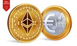 Ethereum Euro pièce de monnaie pièces de monnaie 3D physiques isométriques Devise de Digital Cryptocurrency Pièces de monnaie d'o Illustration Libre de Droits