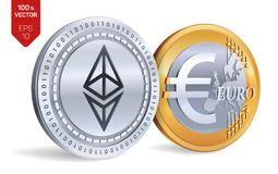 Ethereum Euro pièce de monnaie pièces de monnaie 3D physiques isométriques Devise de Digital Cryptocurrency Pièces d'or et en arg Photographie stock
