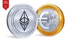 Ethereum Euro pièce de monnaie pièces de monnaie 3D physiques isométriques Devise de Digital Cryptocurrency Pièces d'or et en arg Images libres de droits