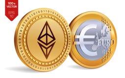 Ethereum Euro pièces de monnaie 3D physiques isométriques Devise de Digital Cryptocurrency Pièces de monnaie d'or avec Ethereum e Photo libre de droits