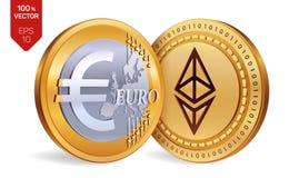 Ethereum Euro pièces de monnaie 3D physiques isométriques Devise de Digital Cryptocurrency Pièces de monnaie d'or avec Ethereum e Photo stock