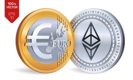 Ethereum Euro pièces de monnaie 3D physiques isométriques Devise de Digital Cryptocurrency Pièces d'or et en argent avec Ethereum Image libre de droits