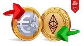 Ethereum Euro wymiana walut Ethereum menniczy euro Cryptocurrency Złote monety z Ethereum i Euro symbol z zielenią i Obraz Stock