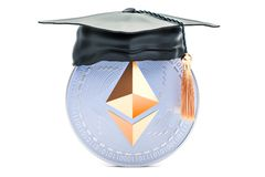 Ethereum with graduation cap, mining education concept. 3D rende. Ring isolated on white background Royalty Free Stock Photography