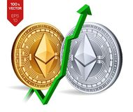 Ethereum. Growth. Green arrow up. Ethereum index rating go up on exchange market. Crypto currency. 3D isometric Physical. Golden and silver coins isolated on Royalty Free Stock Images
