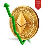 Ethereum. Growth. Green arrow up. Ethereum index rating go up on exchange market. Crypto currency. 3D isometric Physical Golden co. In isolated on white Royalty Free Stock Photo