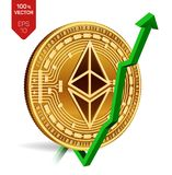 Ethereum. Growth. Green arrow up. Ethereum index rating go up on exchange market. Crypto currency. 3D isometric Physical Golden co. In isolated on white Royalty Free Stock Images