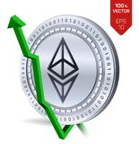 Ethereum. Growth. Green arrow up. Ethereum index rating go up on exchange market. Crypto currency. 3D isometric Physical Silver co. In isolated on white Royalty Free Stock Photography
