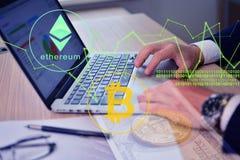Ethereum i bitcoin handel obraz stock